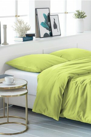 DUVET COVER SATIN-COTTON gelbgrun 0040