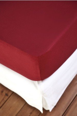 FITTED SHEET FINEJERSEY COTTON RED BURGUND 0649