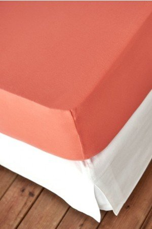 FITTED SHEET FINEJERSEY COTTON ORANGE CORAL 1641