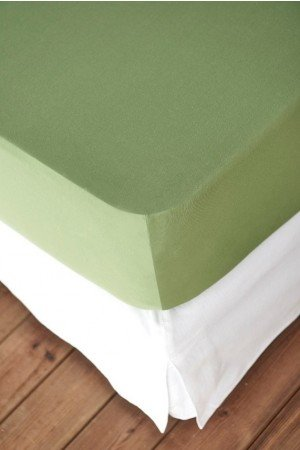 FITTED SHEET FINEJERSEY COTTON GREEN OLIVE 0042