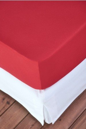 FITTED SHEET FINEJERSEY COTTON RED RUBIN 2104