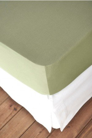 FITTED SHEET FINEJERSEY COTTON GREEN WASABI 0110