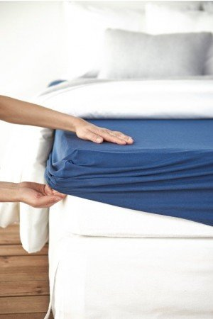 FITTED SHEET FINEJERSEY COTTON BLUE 3928